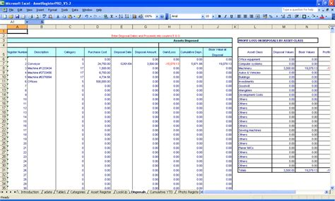 ms excel spreadsheet templates excel gain loss at the date of disposal