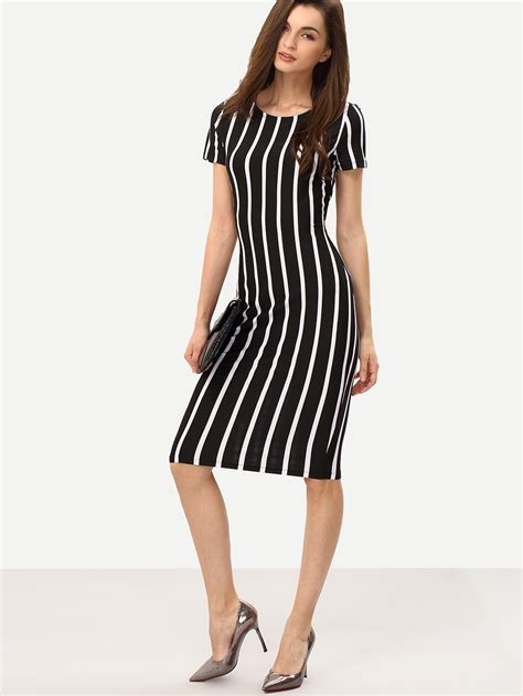 Dress 2 In 1 Limit Stok Vertical Striped Sheath Dress Shein Sheinside