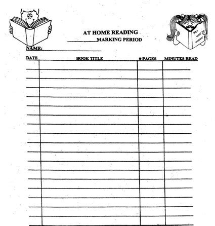 5th grade reading log new calendar template site