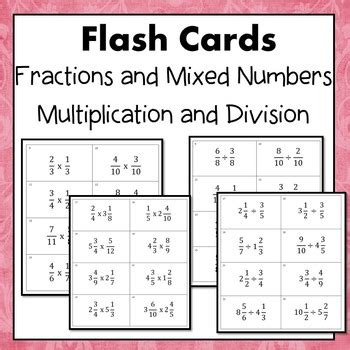 adding fractions card template fractions and mixed numbers multiply and divide flash