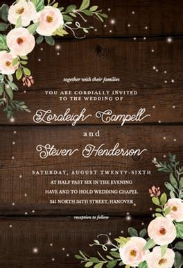 Sparkling rustic floral   Wedding Invitation Template