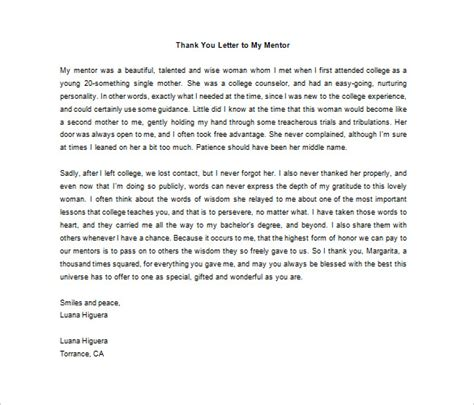 thank you letter to your thank you letter to mentor 9 free word excel pdf