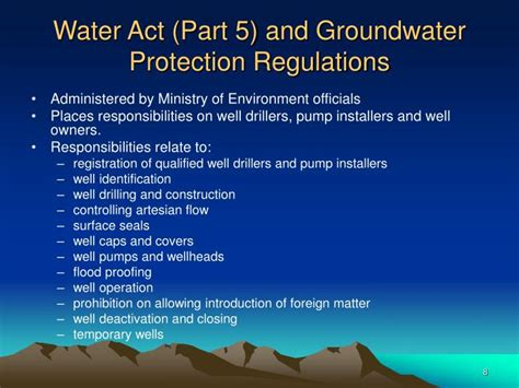 section 9 water act ppt responsibilities and liabilities of small water