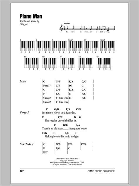 lyrics and piano chords piano sheet by billy joel lyrics piano chords
