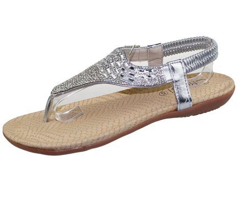 flat sole shoes womens flat sandals diamante toe post summer