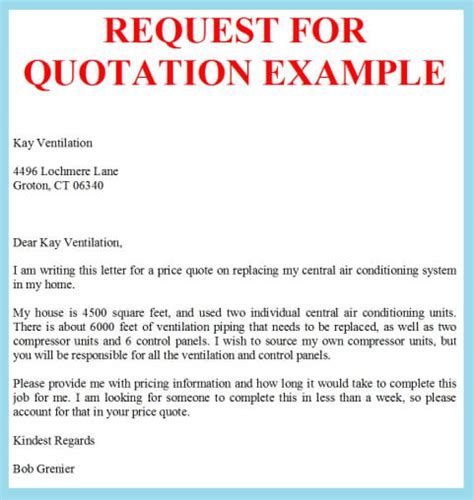request for quotation example business letter examples