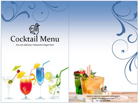 cocktail menu template word templates