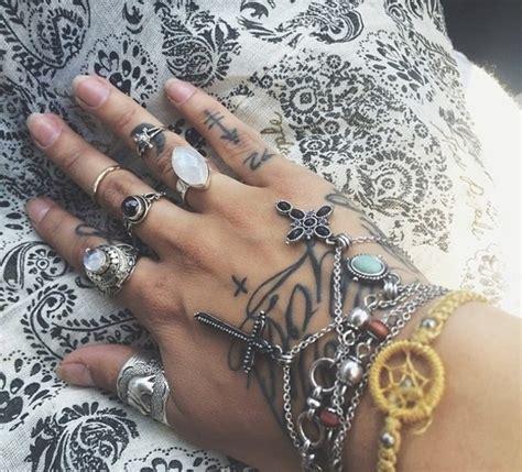 tattoo hand jewelry jewels ring hand jewelry tattoo fashion cross