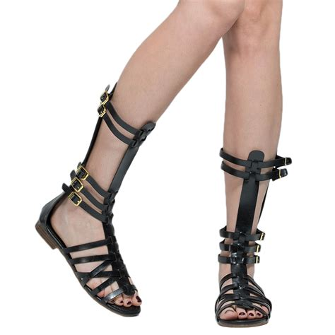 mid calf gladiator sandals womens flat sandals mid calf multi buckles cage
