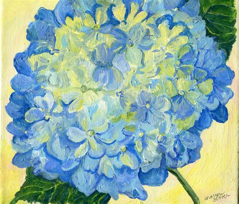 hydrangea painting on canvas hydrangea painting on canvas original square blue flower
