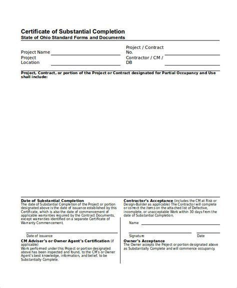 certificate of substantial completion template 26 completion certificate exles psd pdf word