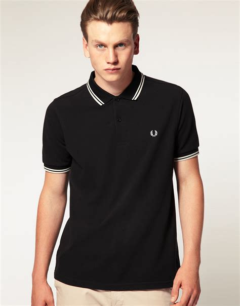 T Shirt Polo Fred Ferry fred perry slim fit polo with tipped in black in black for lyst