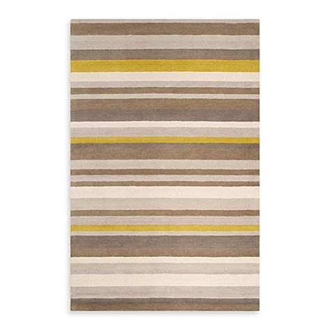 yellow and white striped rug angelo home square striped rug in yellow brown bed bath beyond