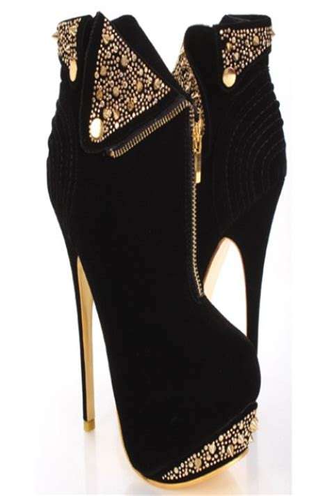 black gold faux suede spike studded collar zipper ankle