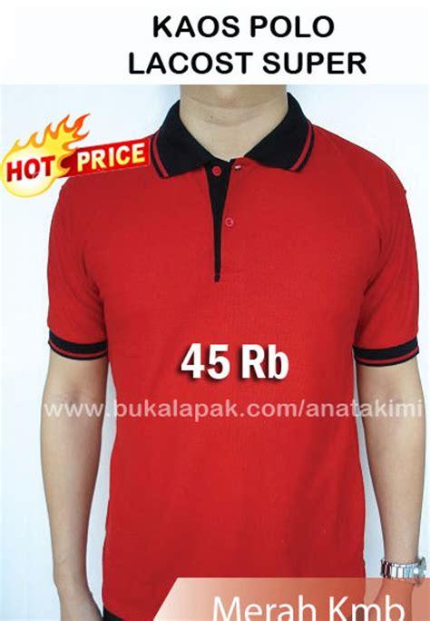 Baju Kaos Perempuan Ukuran M Warna Merah jual kaos polo shirt bahan lacost warna merah ukuran m l xl kaos kerah polos seragam