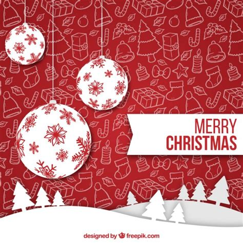white christmas balls on a red background vector free