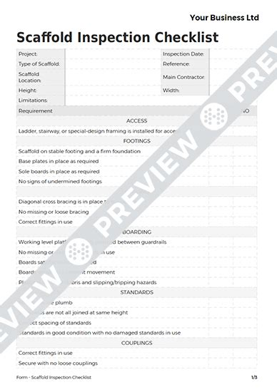 scaffold inspection checklist free template scaffold inspection checklist form template haspod
