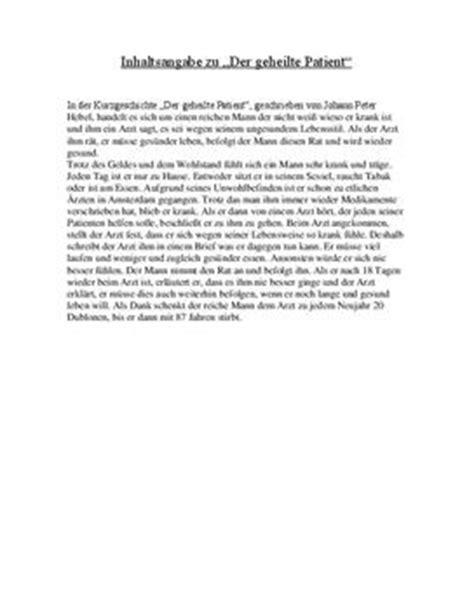 Tagebucheintrag Schreiben Muster Inhaltsangabe Zu Quot Der Geheilte Patient Quot Schulhilfe De