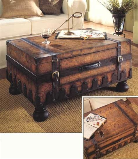 world map trunk coffee table