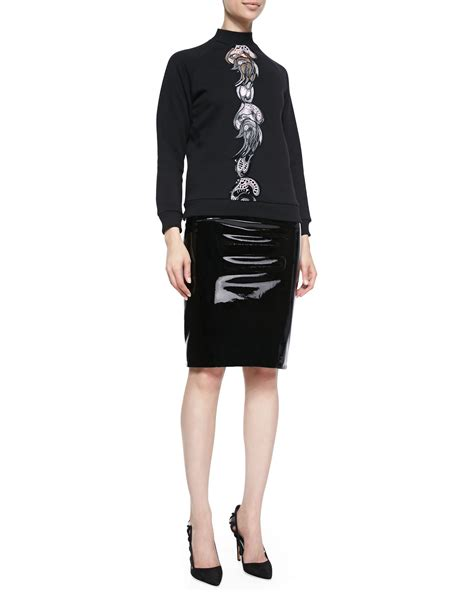 christopher patent leather pencil skirt in black lyst