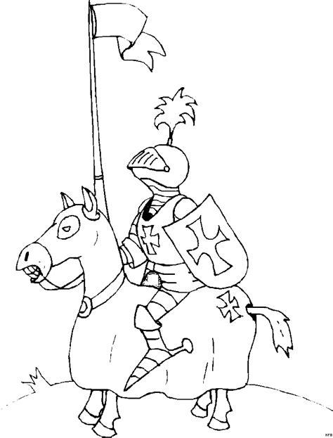 ritter mit fahne auf pferd ausmalbild malvorlage phantasie