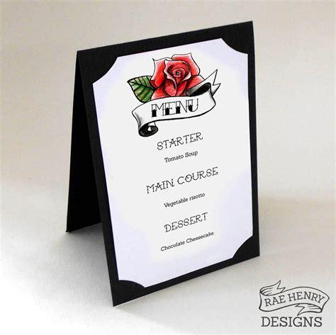 rockabilly rose tattoo menu a5 rockabilly wedding wedding menu and