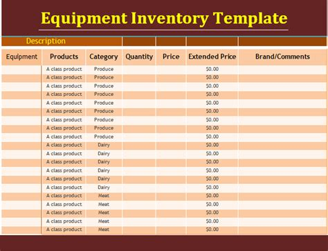 equipment inventory template 14 equipment inventory templates free word templates