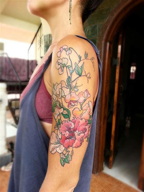 pink flowers arm best tattoo design ideas