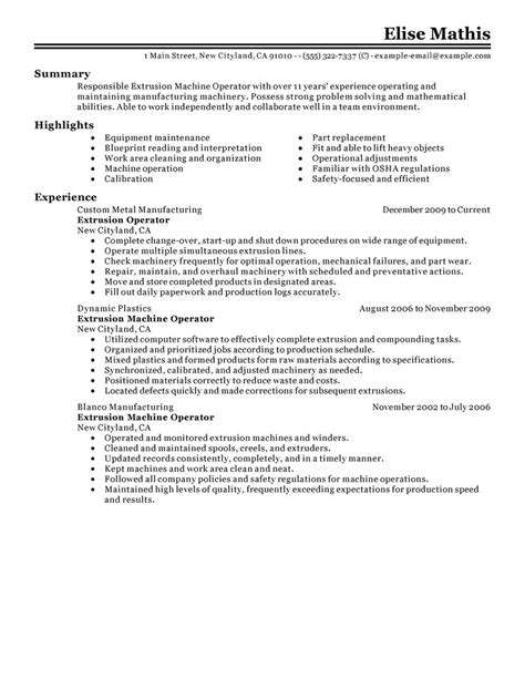 resume for a machine operator 28 images machine