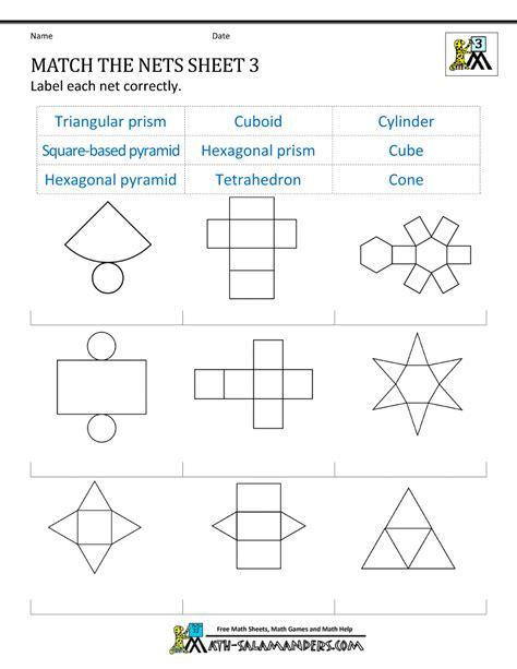 Net Worksheet Answers geometry nets information page