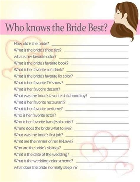bridal shower questions 99 wedding ideas - Bridal Shower For The 20 Questions