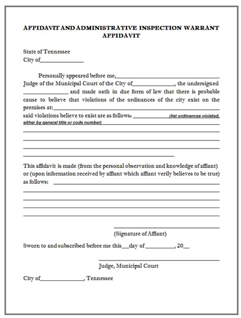 Search Warrant Template by Sle Affidavit And Administrative Inspection Warrant