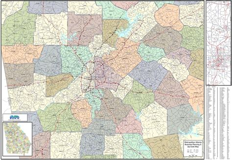 city of atlanta zip code map atlanta metro wall map large zip codes laminated