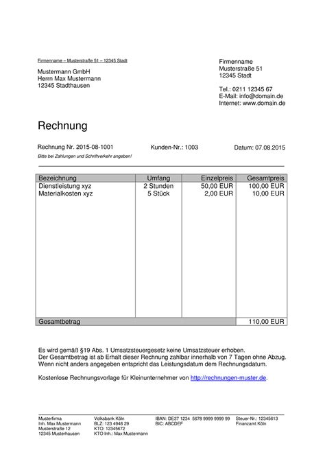 Muster Rechnung Honorar Kleinunternehmer Rechnung Rechnungsvorlagen F 252 R Kleinunternehmer