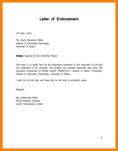 Endorsement Letter For Leave 11 Letter Of Endorsement Resumed