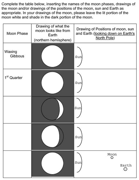printable quiz on phases of the moon phases of the moon worksheet middle school
