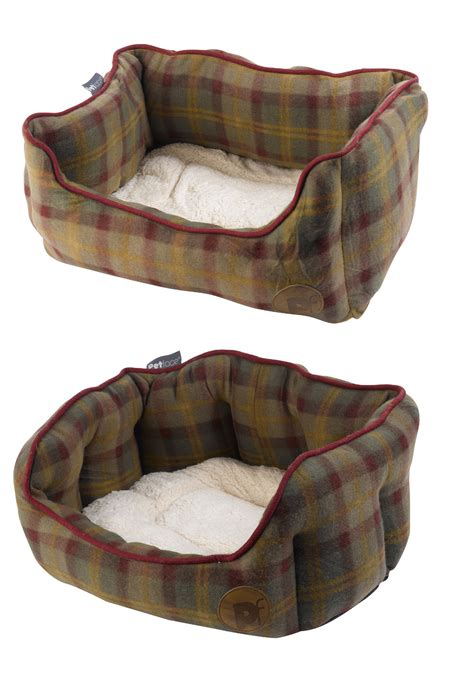 fleece dog bed soft pet face country check dog bed luxury fleece faux