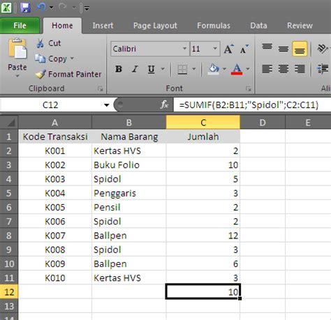Contoh Microsoft Excel contoh penggunaan fungsi sumif belajar microsoft excel