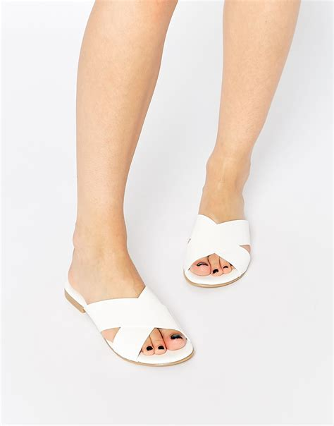 Cross Flats lyst pieces cross flat sandals in white