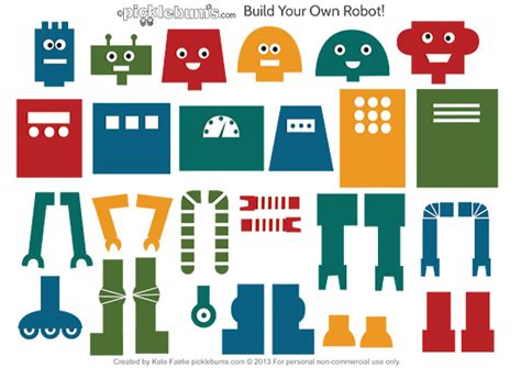 printable paper robot template build your own robot free printable picklebums