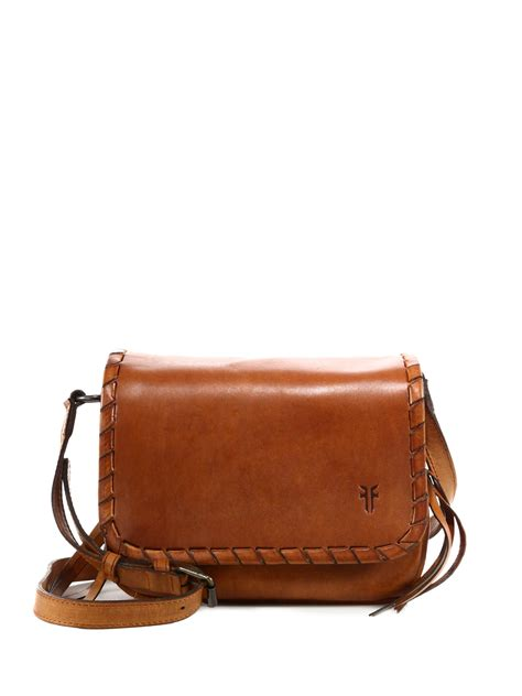 lyst frye layla concho leather crossbody bag in brown
