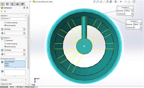 solidworks circular pattern solidworks 2017 bidirectional circular pattern