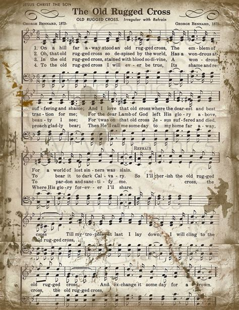 song the rugged cross the rugged cross sheet christian hymn by vrvgraphics stuff sheet
