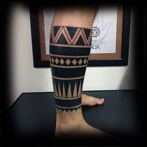 negative space tribal tattoos 60 tribal leg tattoos for cool cultural design ideas