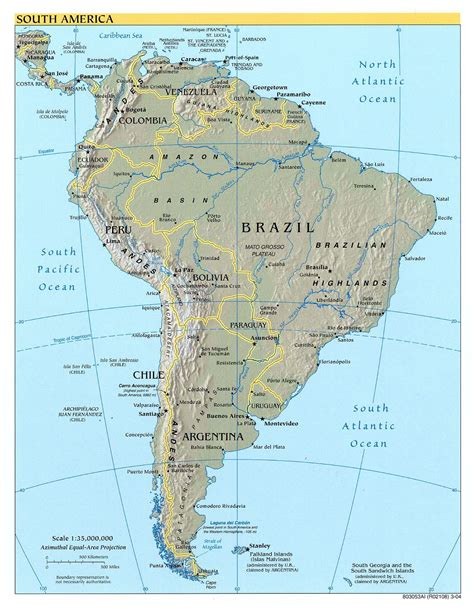 detailed map south america detailed political and relief map of south america south