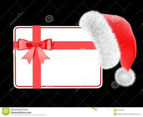 A Gift Card Santa - santa hat with a gift card royalty free stock photography image 21823287