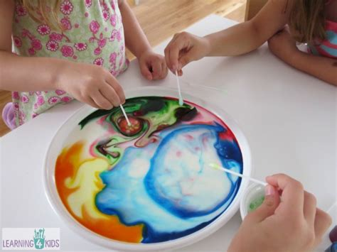 milk food coloring and dish soap experiment colour changing milk experiment learning 4