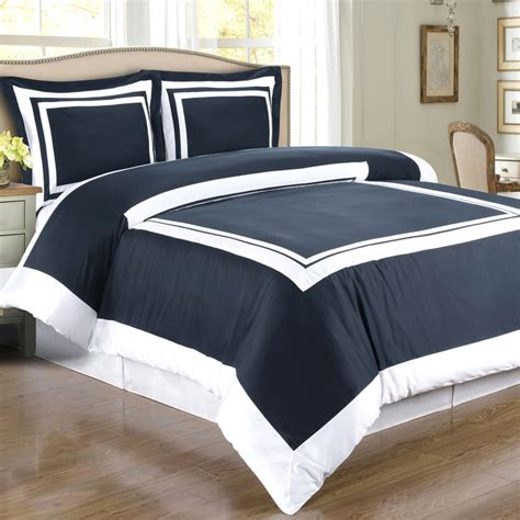 Navy Duvet Set Navy White Hotel Duvet Style Comforter Set Cotton