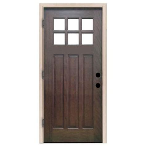 32 X 80 Exterior Door Steves Sons 32 In X 80 In Craftsman 6 Lite Stained Mahogany Wood Prehung Front Door M3306 2