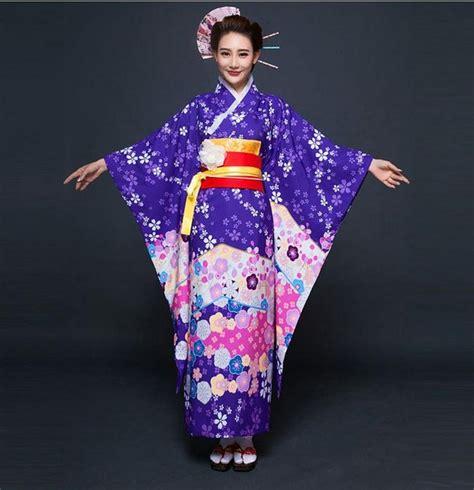 De Kimono Flower high fashion purple japanese style kimono traditional yukata with obi vintage evening